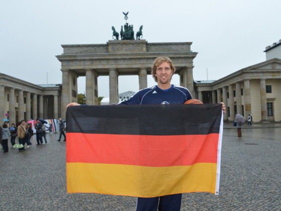 BERLIN - OCTOBER 6:  Dirk Nowitzki #41 of the Dallas Mavericks poses for a photo in front of Brandenburg Gate during NBA Europe Live 2012 on October 6, 2012  in Berlin, Germany. NOTE TO USER: User expressly acknowledges and agrees that, by downloading and or using this photograph, User is consenting to the terms and conditions of the Getty Images License Agreement. Mandatory Copyright Notice: Copyright 2012 NBAE (Photo by Jesse D. Garrabrant/NBAE via Getty Images)